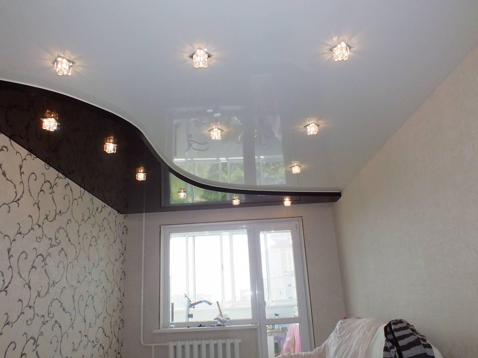 натяжные потолки двух цветов для спальни фото неотапливаемые пристройки подвергаются